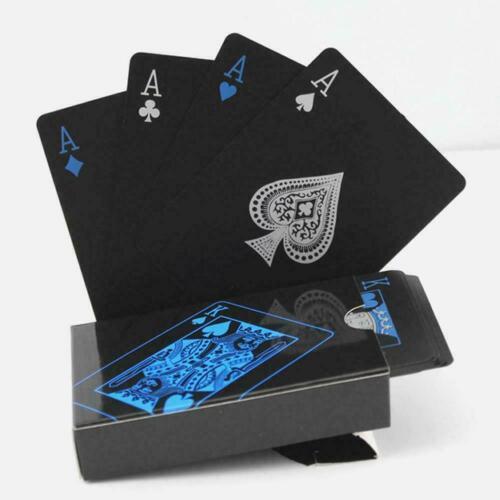 Wasserdicht schwarz PVC Kunststoff Poker Magic Tisch Brettspiel Spielkarten O5J5
