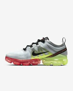 ce7bf2e3a4 NIKE AIR VAPORMAX 2019 AR6631-007 PURE PLATINUM BLACK VOLT-BRIGHT ...