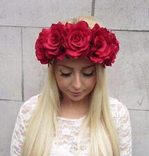 Large Red Rose Flower Hair Crown Headband Vintage Big Garland Festival Boho T55
