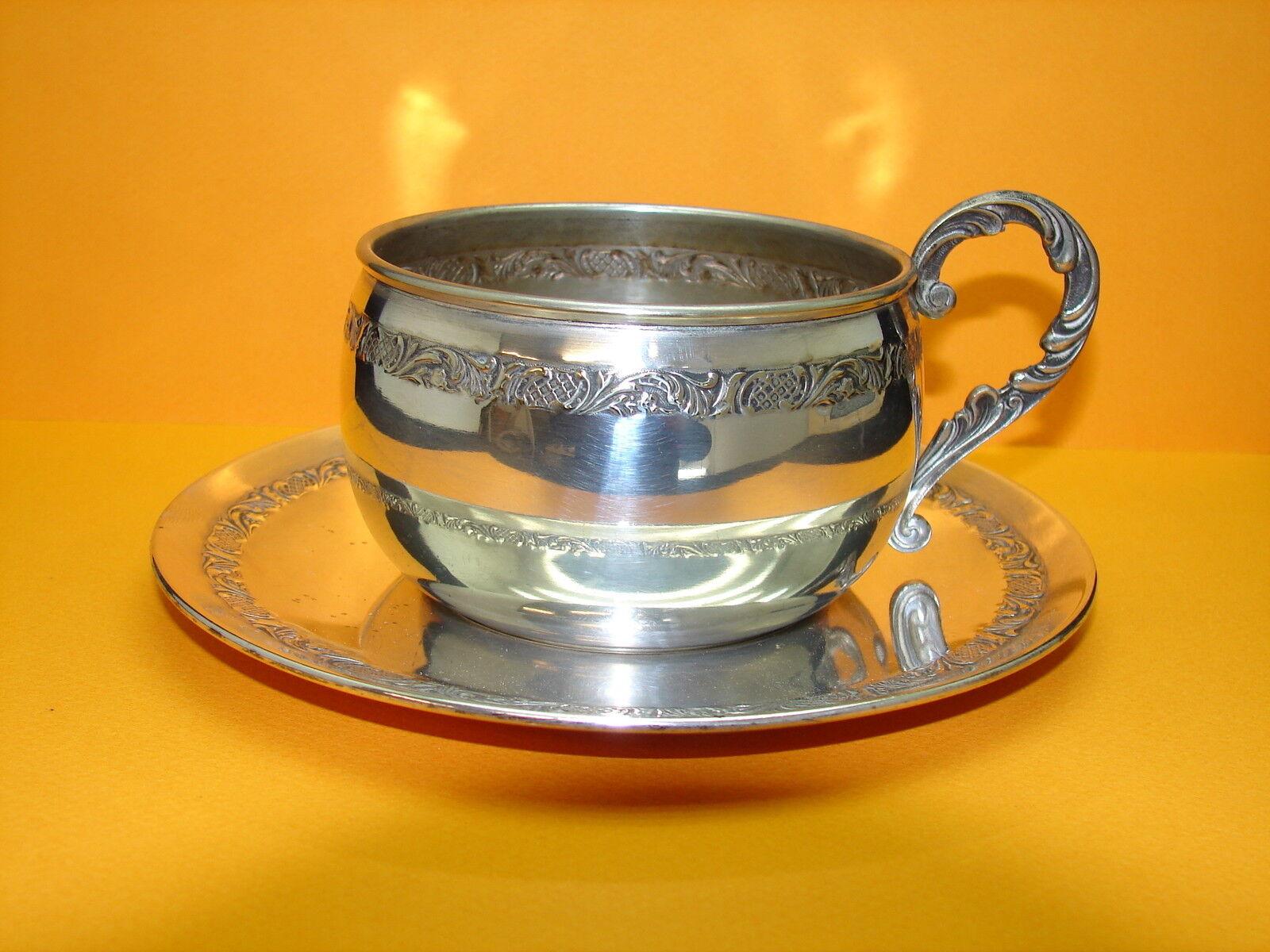 Jolie antigua taza metal chapado en silver