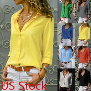 acc9060d US Women's chiffon V Neck Button Up Long Sleeve Solid Loose Blouse ...