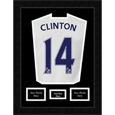"""Rugby Football Cricket Shirt Framing with 2 (6""""x4"""") Photos & Title- Black Mount"""