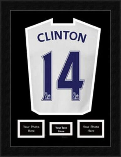 """Rugby Football Cricket Shirt Framing with 2-6/"""" x 4/"""" Photos /& Title Black Mount"""