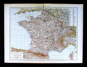 Calais Europe Map.1896 Times Atlas Map France Paris Marseilles Chartres Calais Le