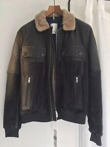 c5c99400e Details about J.Lindeberg Men's Leather Suede Bomber Jacket, Blue, Size  Large