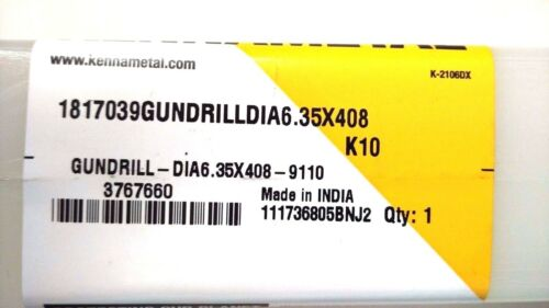 """KENNAMETAL  1//4/""""X16/"""" .2500X16/"""" CARBIDE TIPPED GUNDRILL COOLANT  75/% OFF ON LIST"""