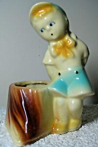 "Vintage 6"" SHAWNEE Art Pottery Boy on Stump Figurine Planter 533 USA Blue Yellow"