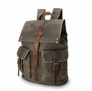 Men s Waterproof Oil Wax Canvas+Real Leather Backpack Outdoor Sport ... 0f2f4550d2