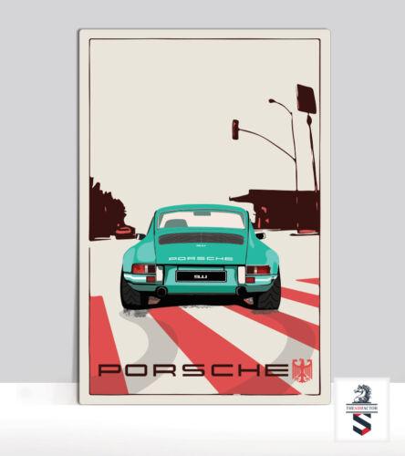 "Porsche 911 in LA Art Print on Aluminum Porsche Garage poster 18 /""x 24/"""