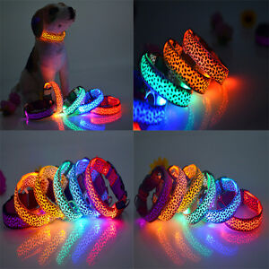 New-Adjustable-LED-COLOR-Light-Up-Pet-Dog-Cat-Neck-Collar-Night-Flashing-Safety