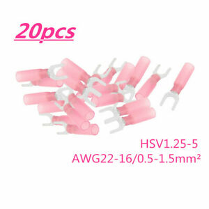 24PCS Blue Shrink Crimp Spade Terminals Heat Wire Connectors 14-16 Gauge AWG Kit