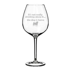 Wine Glass Jumbo 20oz Funny It S Not Drinking Alone If The Dog Is Home Pug Ebay