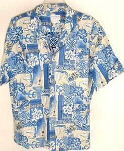 NEW Beige Ukulele /& Pineapple Band Men Hawaiian Aloha Shirt ~ MADE IN HAWAII