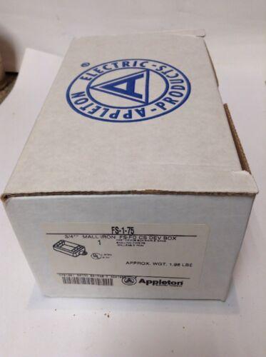 "APPLETON FS1-75 1/""  3//4/""  MALLABLE CAST IRON BOX  NEW! FS-1-75  FS175"