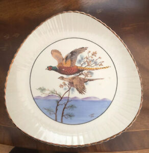 Vintage-1950s-Decorative-Plate-HANDPAINTED-Kelsboroware-Plate-Pheasants-Cream