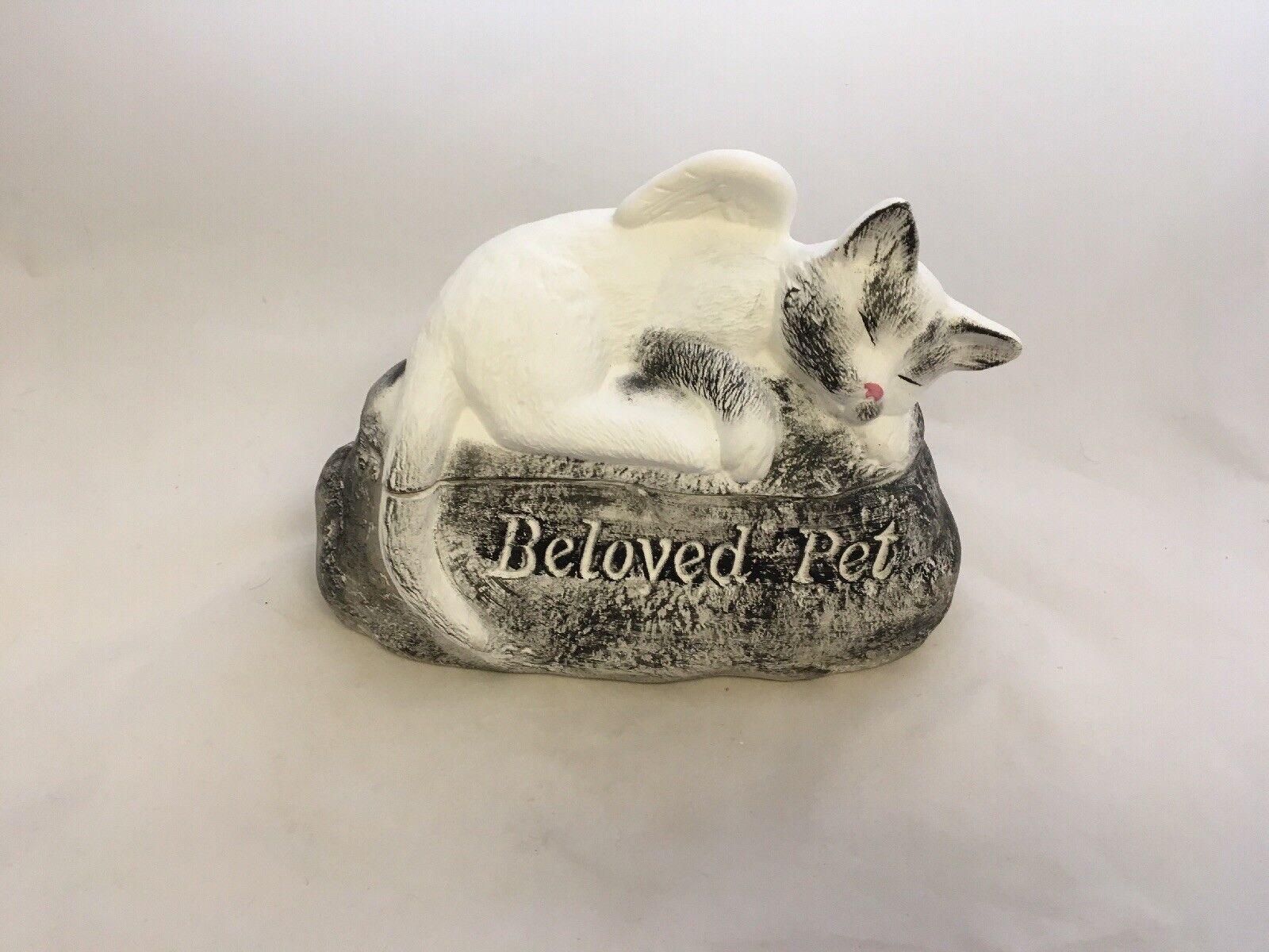 Tierurne, Stein mit Katze ca. 1 Liter, Handarbeit,