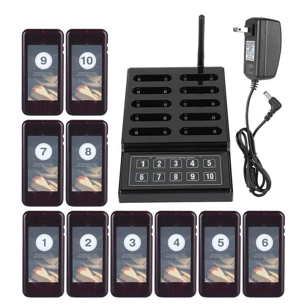Wireless Paging Calling Keypad System 10Pcs Guest Coaster Pagers For Restaurant 12