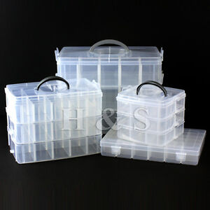 Clear-Plastic-Craft-Beads-Jewellery-Storage-Organiser-Compartment-Tool-Box-Case