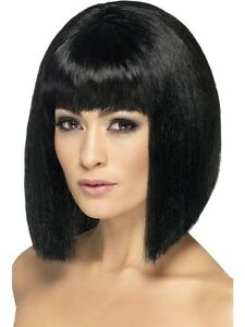 Ladies-Black-Bob-Wig-60-039-s-Mod-Fancy-Dress
