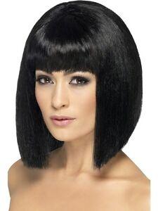 Ladies-Black-Bob-Wig-60-039-s-Mod-Fancy-Dress