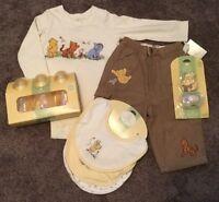 Boys Disney's Classic Pooh Shirt Pants Outfit Bottles Bibs & Pacifier 6-9 Month