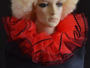 Rojo-y-Negro-2-Capas-Net-Burlesque-payaso-Collar-Neck-Ruff-volantes-Dance-drama