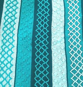 Handmade-Multi-Stitch-Crochet-Afghan-Teal-52-034-x-43-034-Throw-Blanket