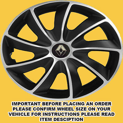 RENAULT SPORTY WHEEL TRIMS HUB CAPS COVERS 15 INCH KANGOO CLIO MEGANE SET OF 4