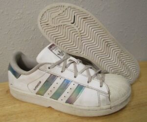 Adidas Superstar C CQ0745 White Iridescent Youth Girls Shoes size 3 | eBay