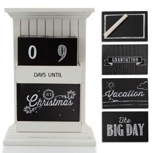 Countdown to Everything: 9 Events, Chalkboard Wood Block Calendar Sign Christmas