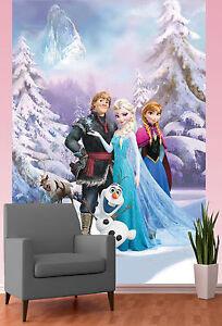 Image Is Loading DISNEY FROZEN WALLPAPER MURAL ANNA ELSA SVEN OLAF
