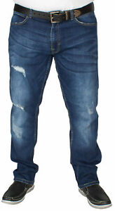 D555-Asher-Men-039-s-Stretch-Fit-Big-Plus-Size-Jeans-with-Ripped-and-Scuffings-Denim