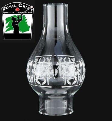 "3/"" X 9 1//4/"" DIANA DECORATED CLEAR GLASS KEROSENE OIL LAMP CHIMNEY 57965JB"