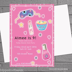 Image Is Loading Girly Sleepover Pyjama Pamper Childrens Birthday Party Invites