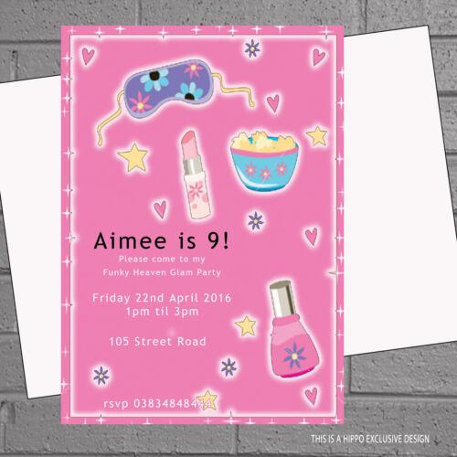 12 x Girly Sleepover Pyjama Pamper Childrens Birthday Party InvitesH0958