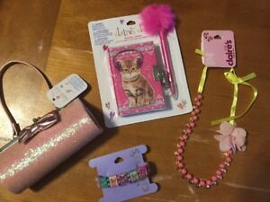 Claire-039-s-Kitten-Diary-Purse-Glasses-Case-Jewelry-Lot-Justice-Stickers-Easter