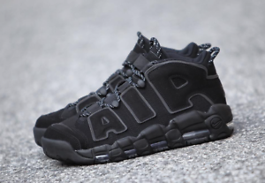 Details about Nike Air More Uptempo TRIPLE BLACK 3M SUPREME WHITE REFLECTIVE 414962 004 sz 15