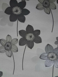 Details About Black White Silver Floral Modern Retro Wallpaper Wall Covering Room Decor Design