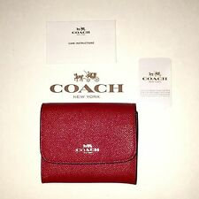 NWT Coach 54843 ACCORDION CARD CASE WALLET IN CROSSGRAIN LEATHER Bright Red