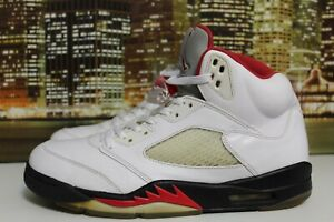 hot sale online 88222 2b061 Details about Air Jordan Retro 5 Fire Red Black White 2013 Basketball  Sneakers Size 10.5