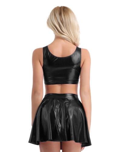 2 Pièce Femme Cuir Verni Wetlook T-shirt Crop Top jupe fantaisie robe Clubwear