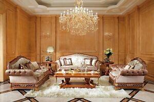 Classique-Sofagarnitur-2-1-Baroque-E62-Rokoko-Style-Antique-Canape-Canapes-Neuf