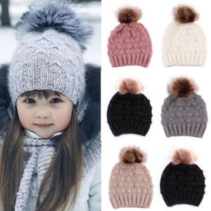 bdfa2dd2d84 Toddler Kid Baby Boy Girl Hat Winter Faux Fur Pom Knit Beanie Ski ...