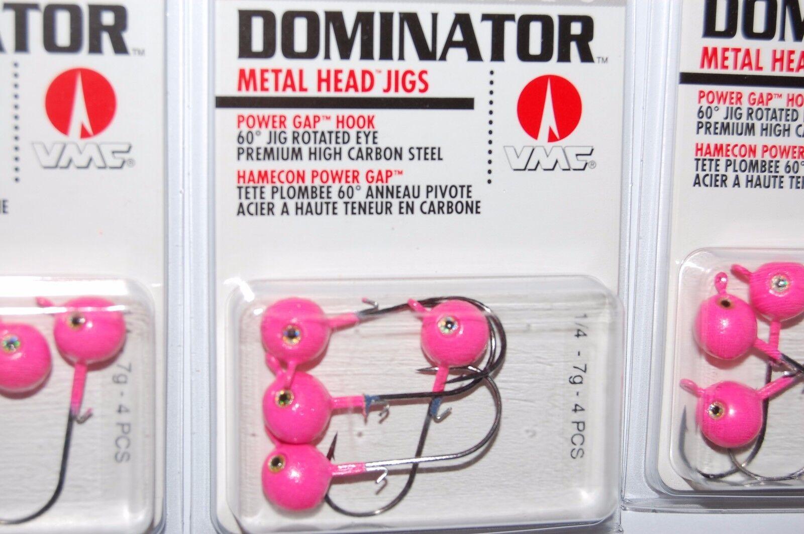 3 VMC DOMINATOR METAL HEAD JIGS 1//16 OZ HOT PINK 4PC