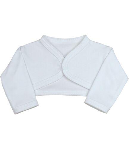 BabyPrem Baby Girls Clothes White Cotton Bolero Cardigan Shrug 0 - 9m