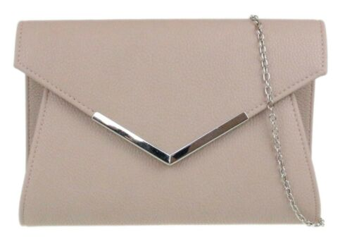 Plain Faux Leather Clutch Bag Small Metallic Frame Envelope Handbag Prom