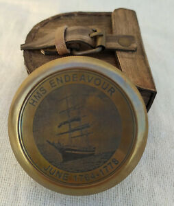 Vintage-Brass-Antique-HMS-ENDEAVOUR-Compass-Solid-Brass-with-Leather-Case
