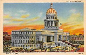Havana-Cuba-Capitol-Building-Vintage-Linen-Postcard-Habana-Capitolio-B12