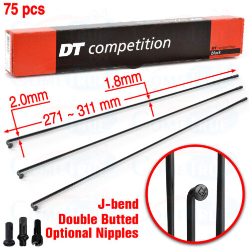 75x DT Swiss Competition Double Butted 2.0x1.8mm J-Bend Black Spoke 271~311mm