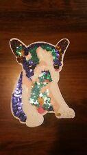 Patch Französische Bulldogge Hund Frenchie Bügelbild bunt mit Pailletten
